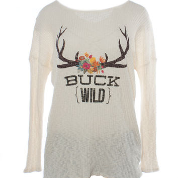 "Judith March ""Buck Wild"" Ribbed Top with Lace Up Back Detail"