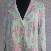 Linen Jacket Christopher and Banks Linene rayon blend size medium green and pink floral roses 4 button front
