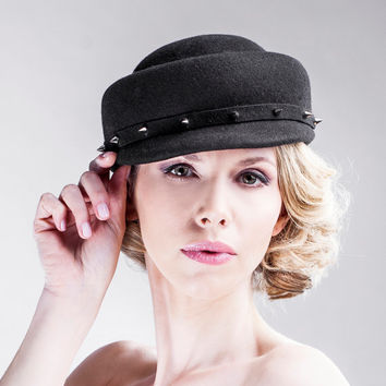 Black Rebel Hat - Winter Handmade Hat - Fashion Accessory - Silver Rivet  Trim - Designer - Vintage Inspired - AW14/15