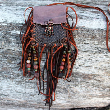 Snake Skin Medicine Bag, Mauve Goat Leather Brown and Umber Deer Fringed Lace, Beaded Shamaness Necklace Pouch