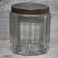 Antique Glass Tobacco Jar with Copper Lid Faceted Sides