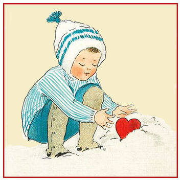 Vintage Valentine Little Boy Heart in Snow Counted Cross Stitch or Counted Needlepoint Pattern