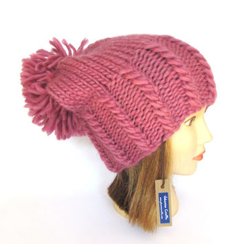 Large pompom slouch hat - warm winter hat - slouchy beanie - old vintage pink hat - Irish knit pure wool hat - chunky knit hat big pom pom