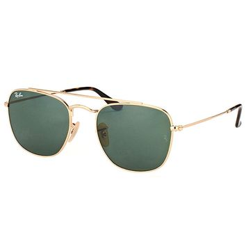 New Ray-Ban RB 3557 001 52mm Gold Metal Square Sunglasses Green Lens