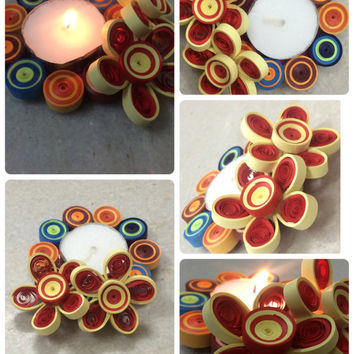 Quilled Candle Holder, Candle Stand, Tealight Holder, Quilled Flowers, Diwali Decoration, Home Decor, paper Candle Holder, Candle Stand
