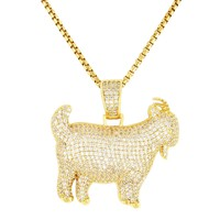 Iced Out Mini Goat 14k Gold Finish Pendant Tennis Chain