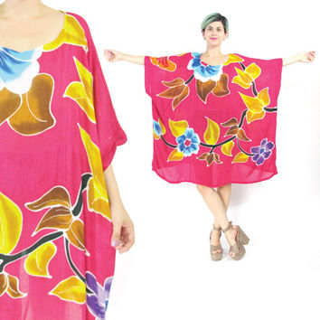 Vintage Caftan Dress Floral Kaftan Dress Hawaiian Muu Muu Dress Oversize Colorful Beach Sun Dress Bali Slouchy Boho Hippie Plus Size (L/XL)