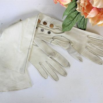 Vintage Early 1900s Ivory Kid Leather Gloves Elbow Length