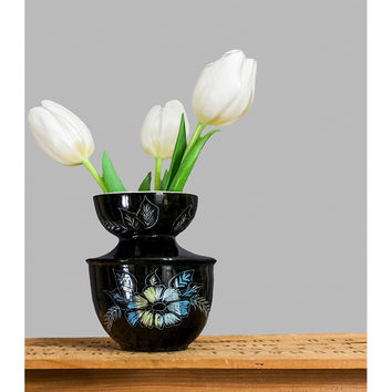 Vintage Mid Century Vase - Retro Modern 1950s Vase - Floral 50s Vase - Black Blue Green Glazed Small Flower Vase - ON SALE!