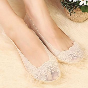 Summer Women Girls Cotton Lace Antiskid Invisible Liner No Show Low Cut Socks Boat Slippers Anti-Slip Female Socks
