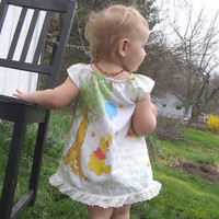 Winnie the Pooh Flutter sleeve DRESS hippie cute kids clothes Vintage