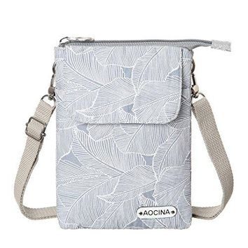 AOCINA Cell Phone Purse Wallet Canvas Leaf Pattern Small Crossbody Purse Bags For Women