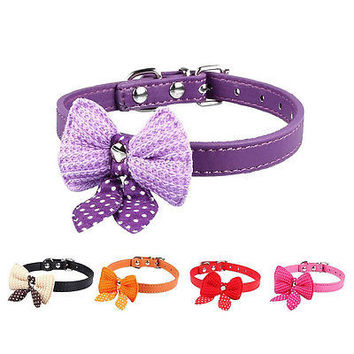 Pet Dog Cat Adjustable Cute Knit Bowknot PU Puppy Collars Necklace Belt EW