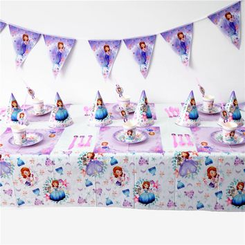 Disney Sofia the first Princess Sofia Kids Birthday Party Decoration Set Party Supplies cup plate banner hat straw loot bag fork