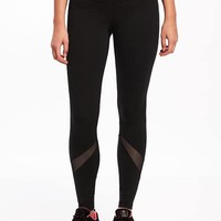 Go-Dry Compression Mesh-Trim Leggings for Women | Old Navy