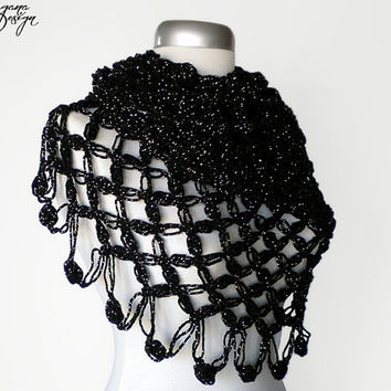 Crochet Solomons knot black scarf shimmering lace wrap shawl