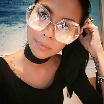 Transparent Gradient Designer sunglass Lady Big Clear Mirror Female Oversize luxury