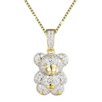 Sterling Silver Mini Teddy Bear Iced Out Pendant Chain