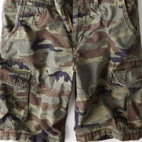 "AEO Men's 12"" Ripstop Camo Cargo Short (Traditional Camo)"