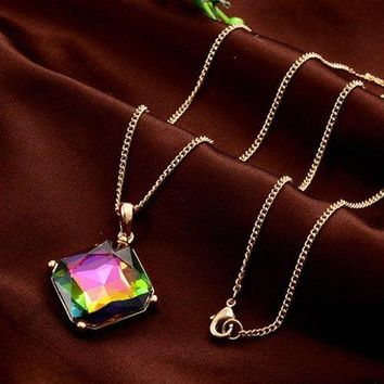 Chic Colorful Rhinestone Inlay Pendant Sweater Chain For Women - Golden