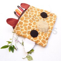 Back to School SALE - Giraffe Print Pouch - Cute Pencil Case , Kawaii Make Up Pouch , Print Bag