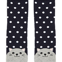 Polka Dot Cat Crew Socks