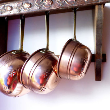 Vintage French, Copper Colanders, Set of 3, Vintage Copper Strainers, Copper Kitchen Utensils
