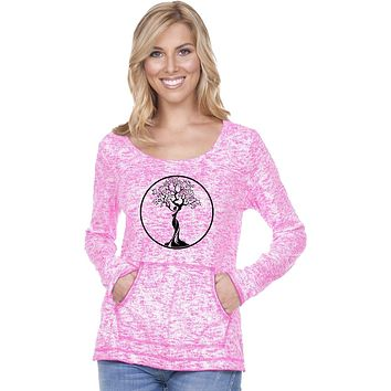 Yoga Clothing For You Black Tree of Life Circle Static Raw-Edge Long Sleeve Tee