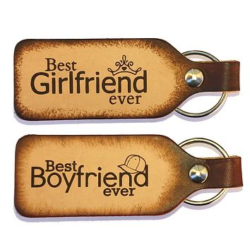 Best Boyfriend Ever Best Girlfriend Ever Leather Keychains