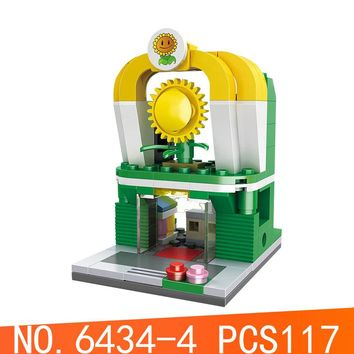 HSH6434-4 Legoing Street View Series 117Pcs Plants VS Zombies Experience Hall Building Block Compatible Legoings Cartoon Cute