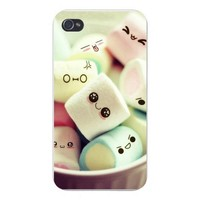 Apple Iphone Custom Case 4 4s White Plastic Snap on - Bowl of Marshmallows w/ Different Facial Expressions Funny