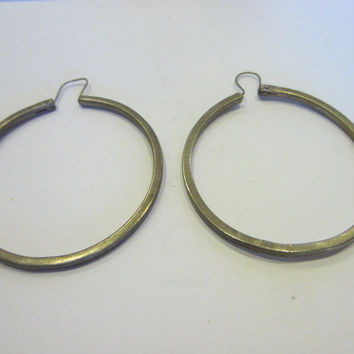 Silver Hoop Earrings Marked In Etch Made in Mexico