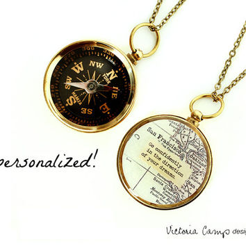 Large Custom Map Compass Necklace with Personalized Quote, Working Compass, Graduation Gift