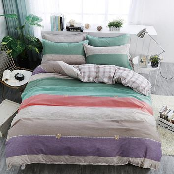 Colorful stripes gray plaid lattice Bedding set Single Queen King Size Duvet Cover Set Bed Linen Quilt Cover