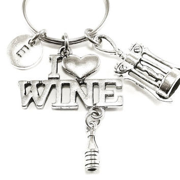 I Love wine theme..... wine bottle and corkscrew keyring, keychain, bag charm, purse charm, monogram personalized item No.103