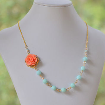 Coral Rose Statement Necklace with Seafoam Mint Alabaster Swarovski Crystals in Gold. Bridesmaid Necklace. Fashion Jewelry.