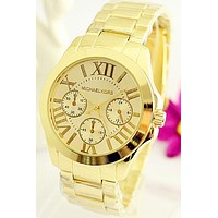 MK men and women tide brand exquisite fashion quartz watch F-Fushida-8899 gold