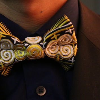 Yellow and White bow tie