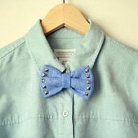 Punk denim bow -Hair/apparel accessory
