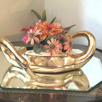 Vintage Large Brass Two Heads Swan Planter - Korea