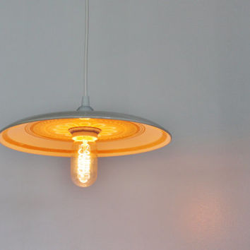 YELLOW DAISY - Plate Pendant Light - Upcycled Lighting Fixture Made With A Vintage Royal China Dinner Platter - OOAK BootsNGus Lamp Design
