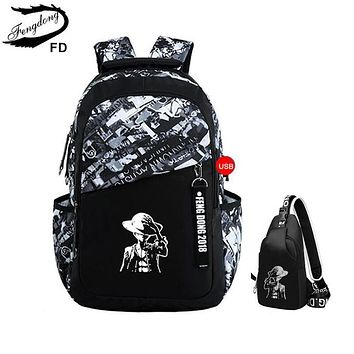 FengDong boys school bags letters waterproof large backpack for teenagers high school backpack for boy student casual travel bag