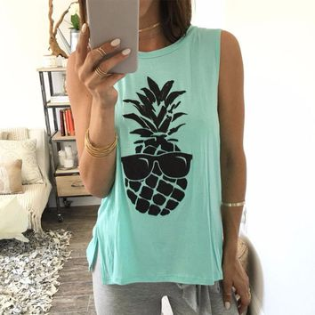 Women Basic 2018 Tank Crop Top Pineapple Print Tops Loose Casual Shirt Cropped Tanks O Neck Summer Female Sleeveless All Match