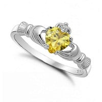 Sterling Silver Yellow Topaz CZ Claddagh Ring Size 5-10