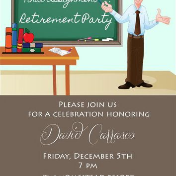 Male Teacher Retirement Party Invitation