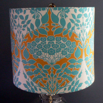 Drum Lamp Shade, Teal Botanical Damask, Joel Dewberry Fabric