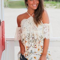 Ivory Floral Halter Neck Top with Lace Sleeves