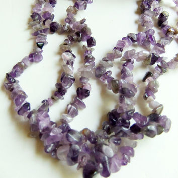 """Vintage Native American Heishi with Polished Gems Purple Amethyst, Rose Quartz and Coral Three Strand Necklace 22"""" Natural Gemstones"""