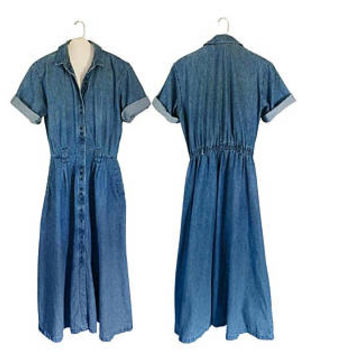 Long Denim Dress Blue Jean Dress 90s Maxi Dress With Pockets Denim Maxi Dress Plus Size Dress Denim Jumper Chambray Dress XL Dress Button