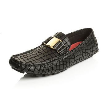 Men's Faux Leather Alligator Print Buckle Slip-on Loafers